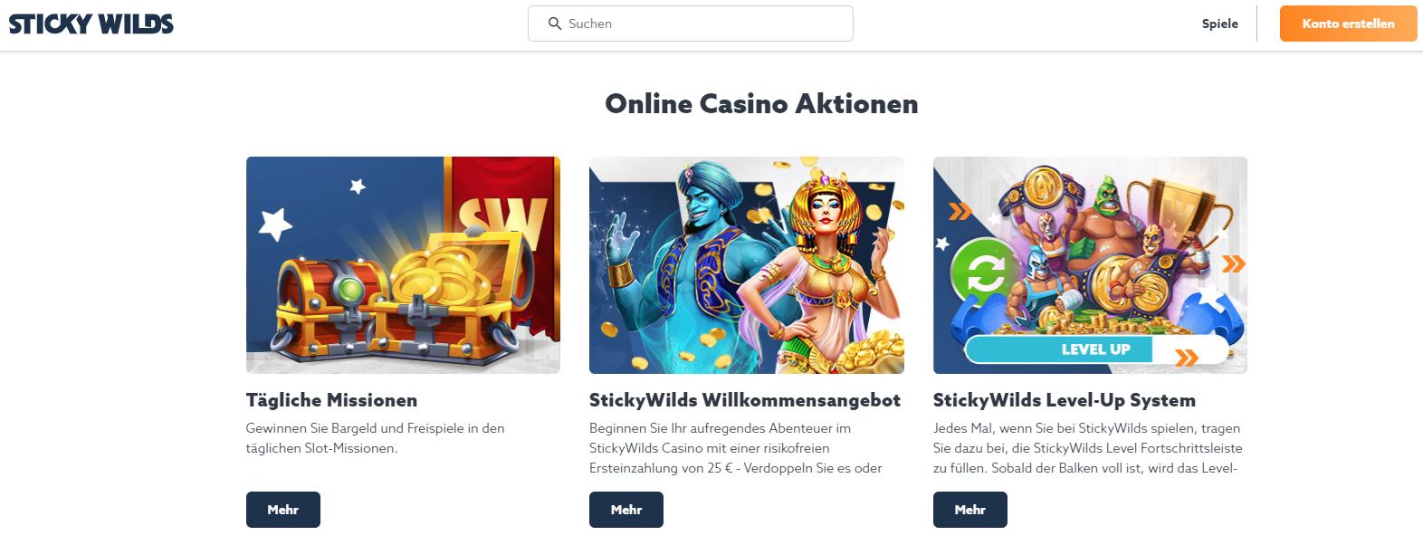 Stickywilds Casino Freispiel Missionen