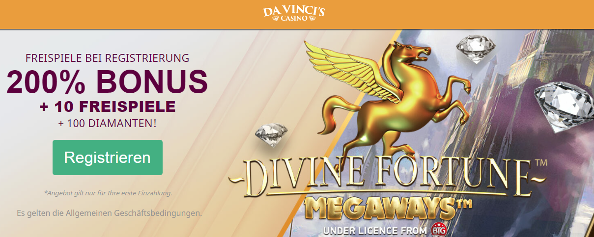 Davincis Casino Freespins ohne Einzahlung