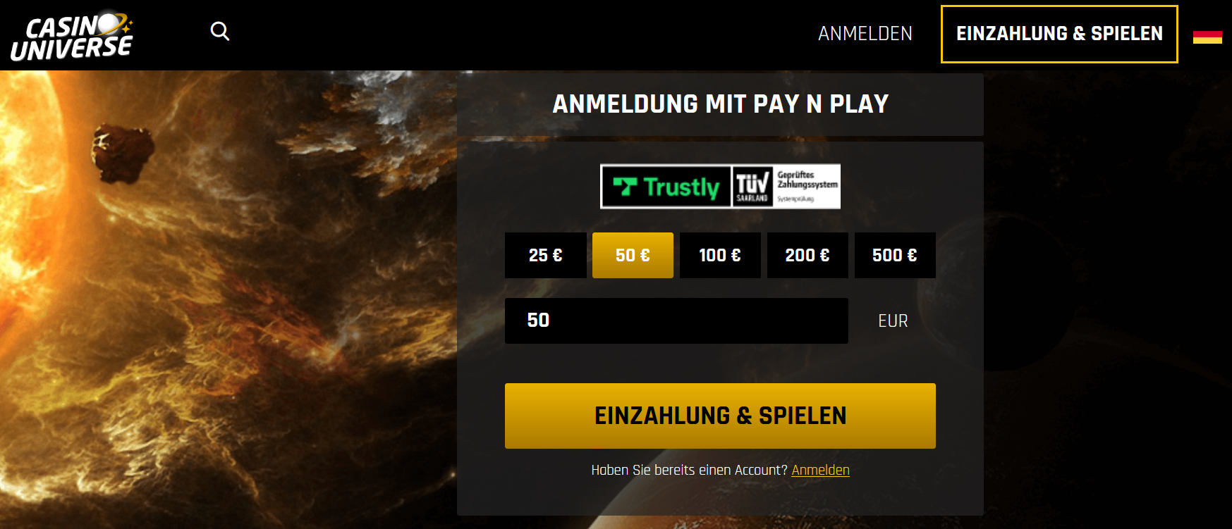 Casinouniverse Pay n Play