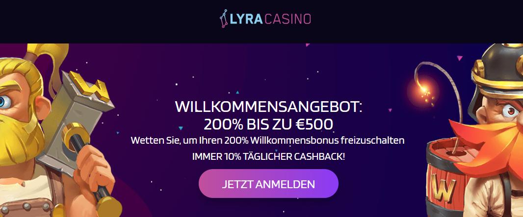 Lyracasino Cashback umsatzfrei